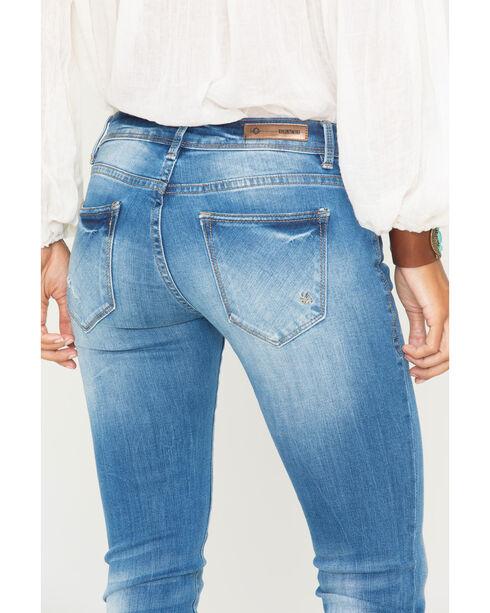 Grace in LA Women's Indigo Light Destruction Jeans - Skinny , Indigo, hi-res