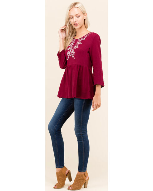 Polagram Women's Wine Embroidered 3/4 Sleeve Top , Wine, hi-res
