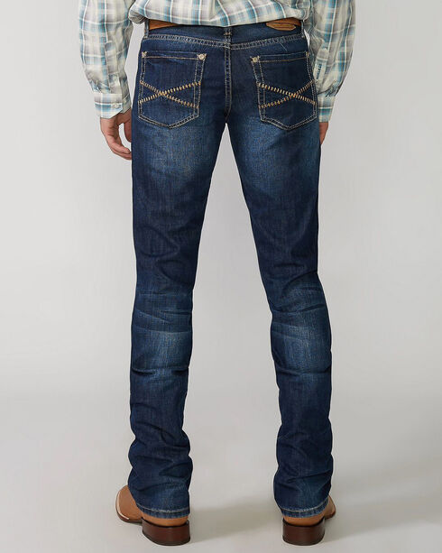 "Stetson Rock Fit Barbwire ""X"" Stitched Jeans, Med Wash, hi-res"