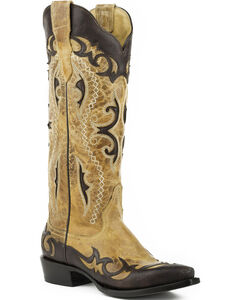 Stetson Women's Vivi Tan Wingtip with Underlays Western Boots - Snip Toe , Brown, hi-res