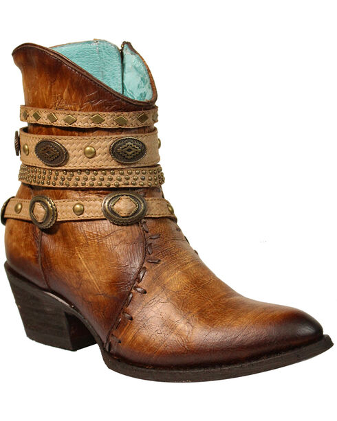 Corral Women's Zipper Studded Ankle Harness Fashion Boots - Round Toe, Dark Brown, hi-res