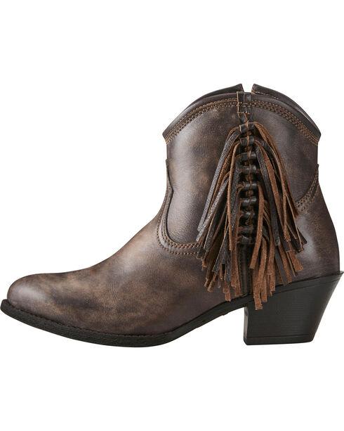 Ariat Women's Chocolate Duchess Braided Fringe Short Western Boots - Round Toe, Chocolate, hi-res