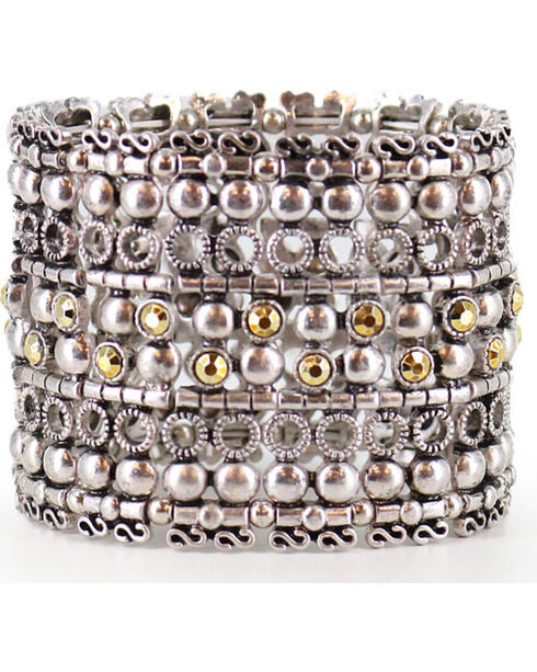 Shyanne Women's Layered Stretch Bracelet, Silver, hi-res