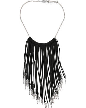 Shyanne Women's Fringe Necklace, Black, hi-res
