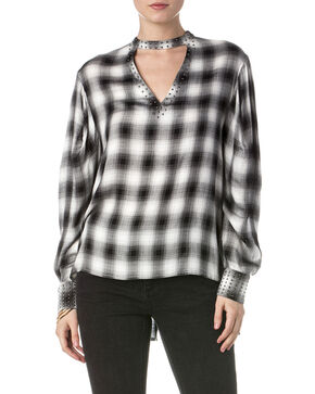 Miss Me Women's Brave Heart Plaid Blouse, Multi, hi-res