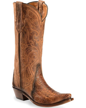 Lucchese Burnished Cognac Sasha Ostrich Leg Cowgirl Boots - Narrow Square Toe , Cognac, hi-res