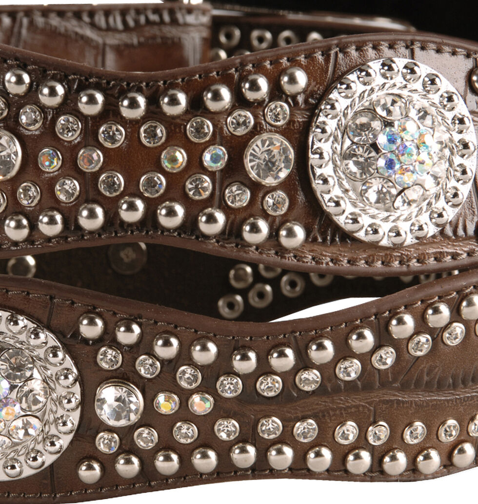 Nocona Rhinestone Embellished Croc Print Leather Belt, Brown, hi-res