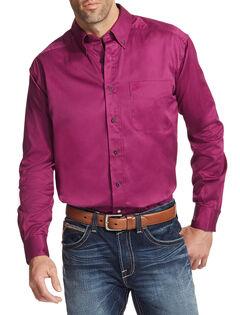Ariat Men's Magenta Solid Twill Button Down Shirt - Big & Tall, , hi-res