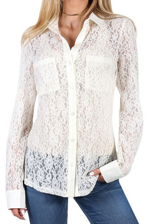 Shyanne Women's Floral Lace Long Sleeve Blouse, Ivory, hi-res