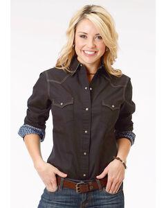 Roper Women's Black Long Sleeve Western Style Snap Shirt - Plus Size, Black, hi-res