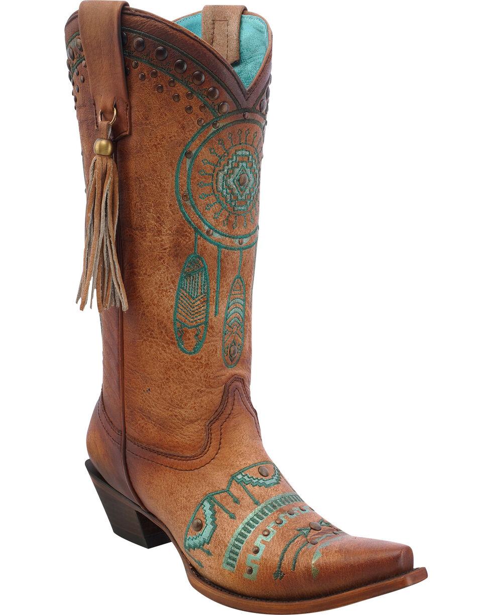 Corral Women's Dreamcatcher Cowgirl Boots - Snip Toe, Tan, hi-res