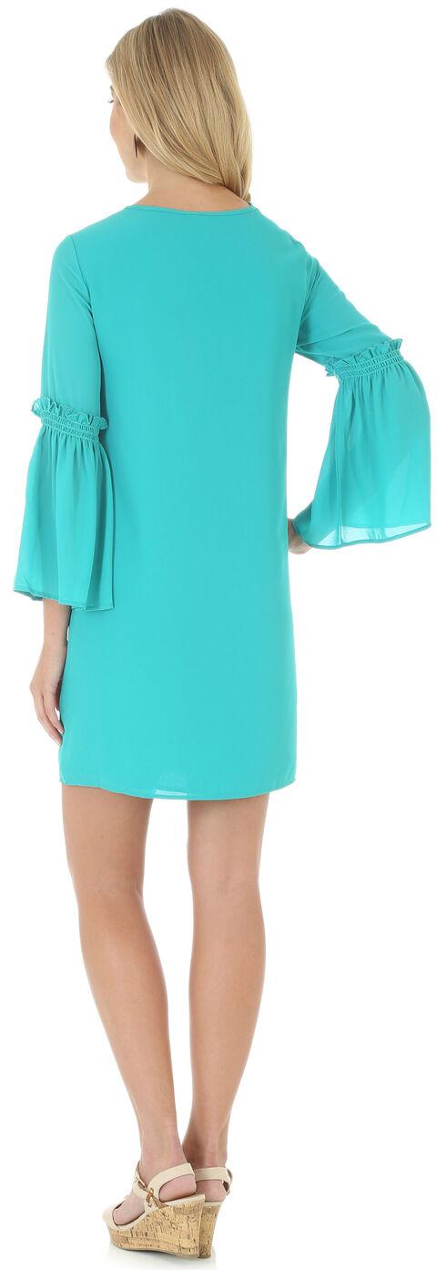 Wrangler Women's Teal Green V Neck Dress with Flutter Sleeves, Green, hi-res