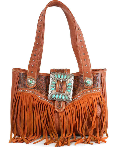 Trinity Ranch Women's Fringe Buckle Shoulder Bag, Brown, hi-res