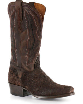 El Dorado Men's Genuine Sueded Hippo Western Boots - Square Toe, Chocolate, hi-res