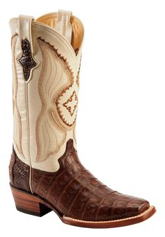 Ferrini Chocolate Caiman Belly Cowgirl Boots - Square Toe, Chocolate, hi-res