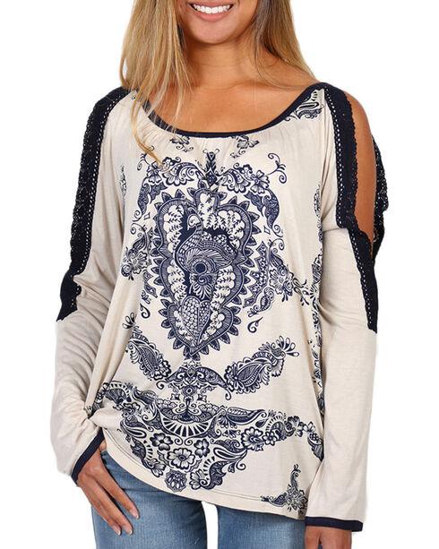 Bila Women's Cream Floral Print Cold Shoulder Lace Top , Cream, hi-res