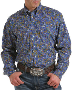 Cinch Men's Blue Paisley Print Long Sleeve Shirt , Multi, hi-res