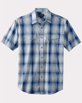 Pendleton Men's Navy Dressy Western Short Sleeve Shirt , Blue, hi-res