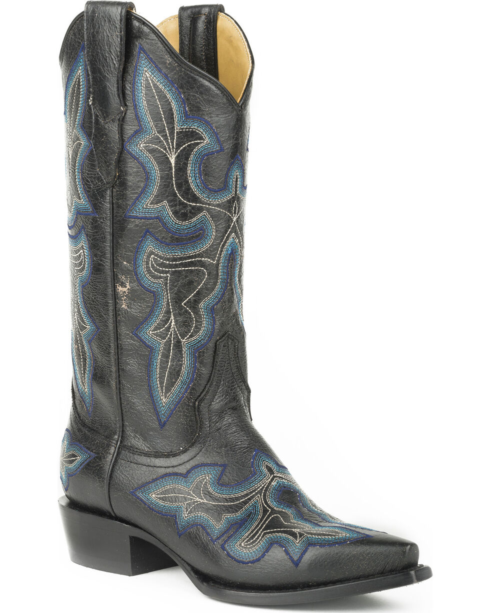 Stetson Women's Blake Black Crackle Western Boots - Snip Toe, , hi-res