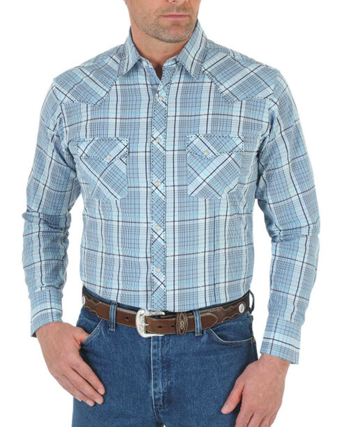 Wrangler Men's Blue Snap Down Plaid Shirt , Blue, hi-res