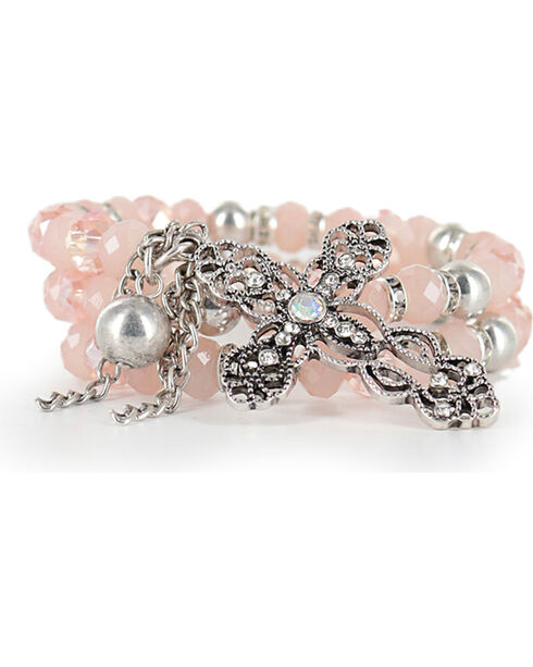 Shyanne Women's Vintage Cross Coil Bracelet, Pink, hi-res