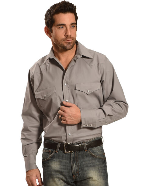 Crazy Cowboy Men's Long Sleeve Western Shirt - Big and Tall, Grey, hi-res