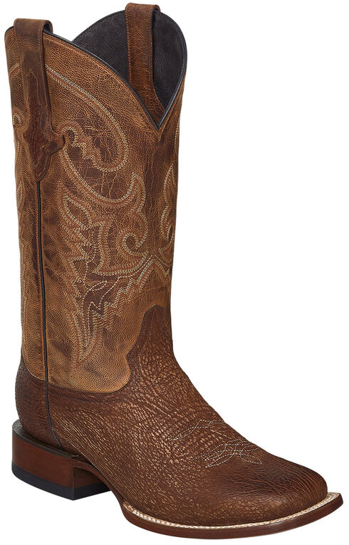 Lucchese Handcrafted Cognac Ryan Shark Cowboy Boots - Square Toe , Cognac, hi-res