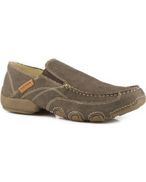 Roper Men's Brown All Over Vintage Canvas Driving Moc Shoes , Brown, hi-res