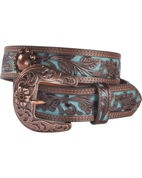 Shyanne Women's Turquoise Inlay Concho Belt, Brown, hi-res