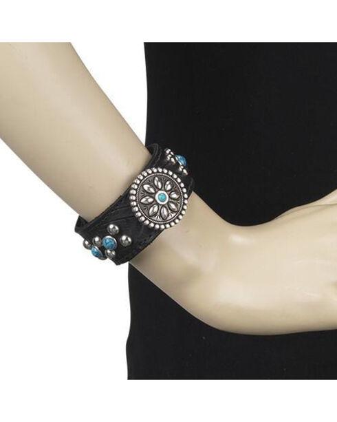 American West Women's Black Narrow Cuff Bracelet , Black, hi-res