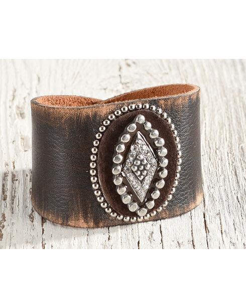 Cowgirl Confetti Women's Brown Riveting Nail Heads Cuff Bracelet , Dark Brown, hi-res
