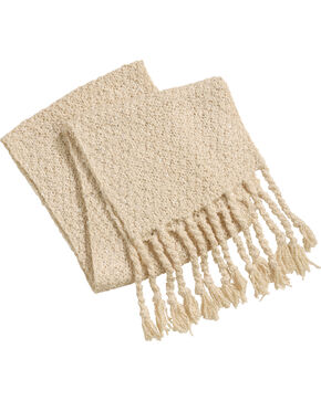 Shyanne Women's Curly Girl Tassel Trimmed Scarf, Cream, hi-res
