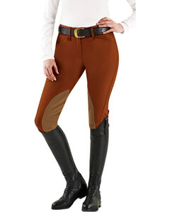Ovation Euroweave DX Taylored Front Zip Knee Patch Breeches, , hi-res