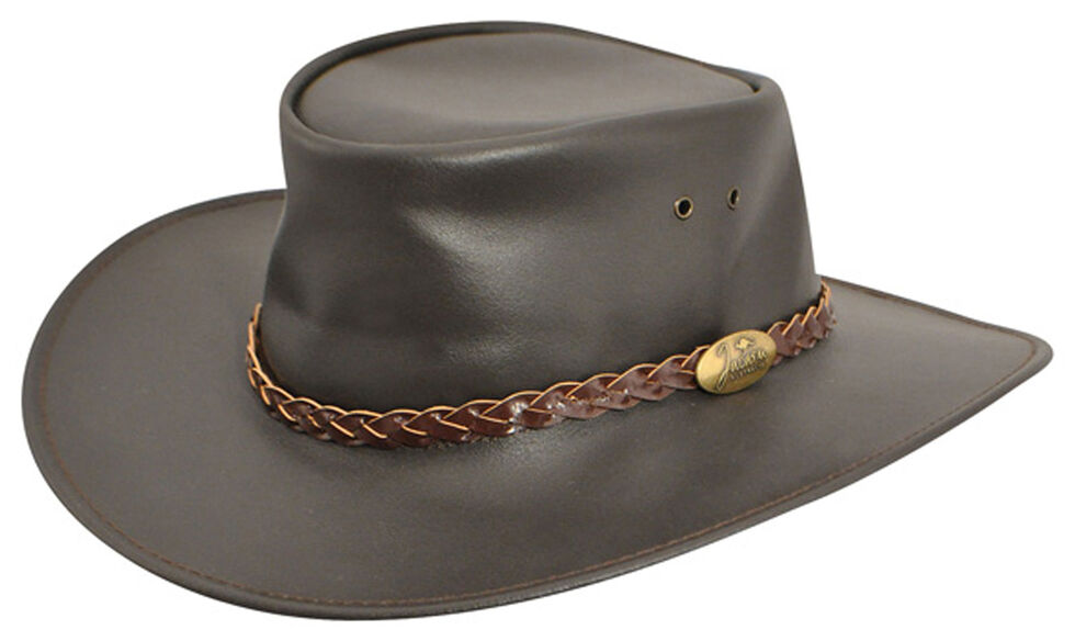 Jacaru Swagman Leather Outback Hat, Brown, hi-res