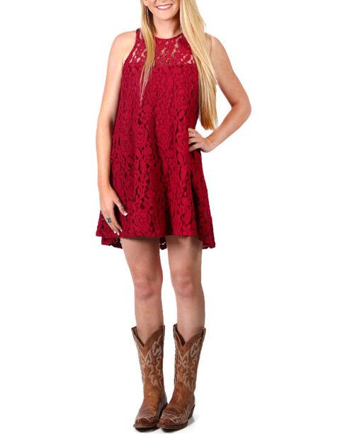 Shyanne Women's Flare Lace Dress , Burgundy, hi-res