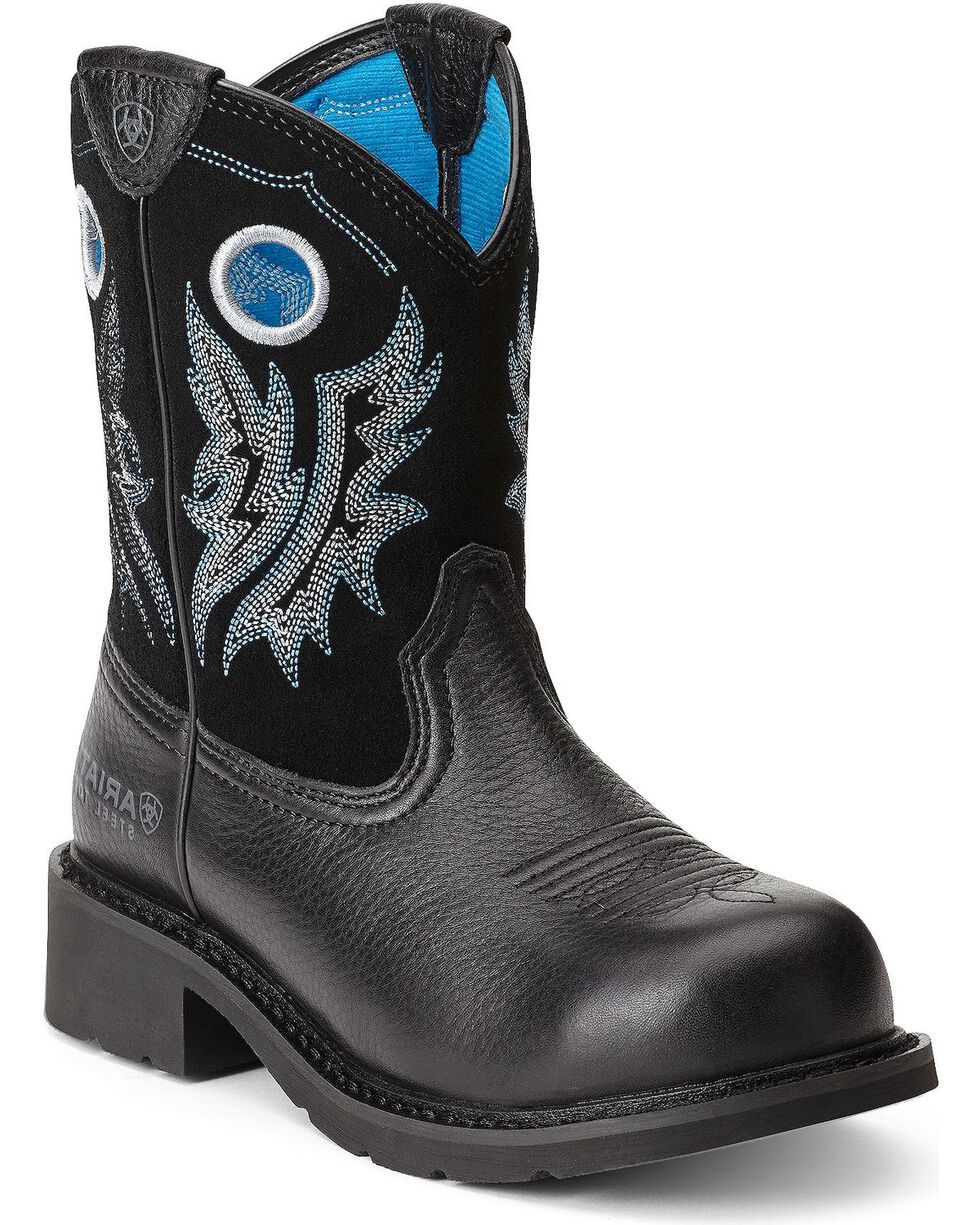 Ariat Fatbaby Cowgirl Boots - Steel Toe, Black, hi-res