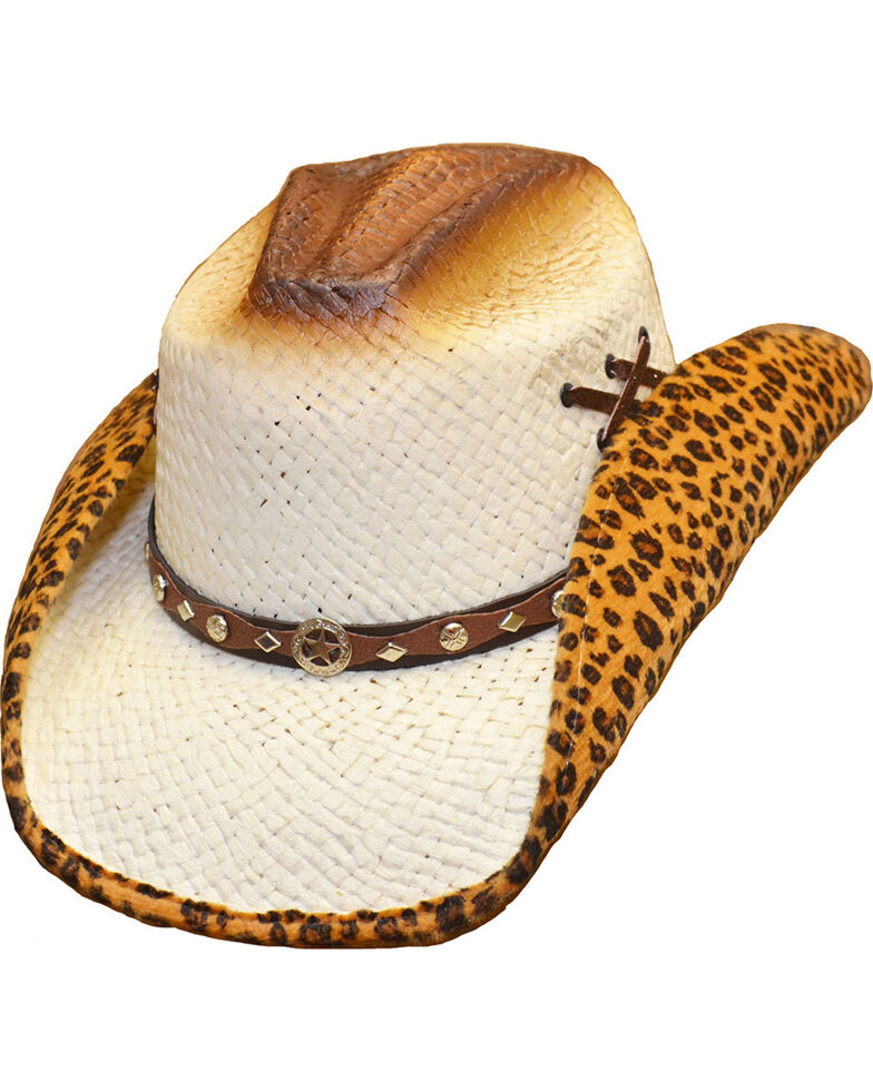 10d0b23310078 Western Express Women s Leopard Lined Straw Hat - Country Outfitter
