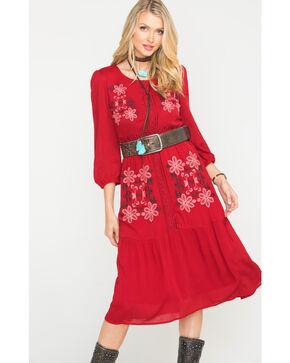 Polagram Women's 3/4 Sleeve Embroidered Midi Dress , Wine, hi-res