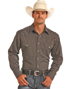 Panhandle Men's Brown Striped Long Sleeve Shirt, Brown, hi-res