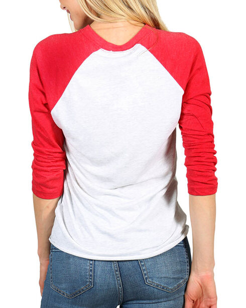 Bohemian Cowgirl Women's Roots Long Sleeve Baseball Tee, Red, hi-res