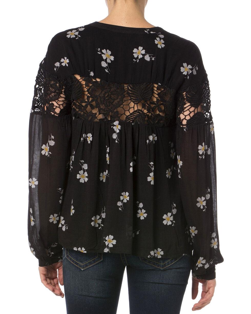 Miss Me Black Lace Floral Button Down Top   , Multi, hi-res