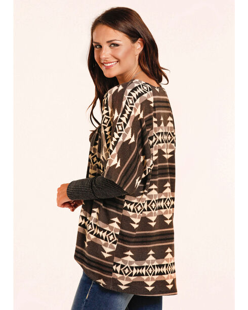 Panhandle Women's Aztec Geometric Cardigan , Brown, hi-res