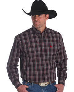 Wrangler Men's George Strait Red Plaid Long Sleeve Shirt , Red, hi-res