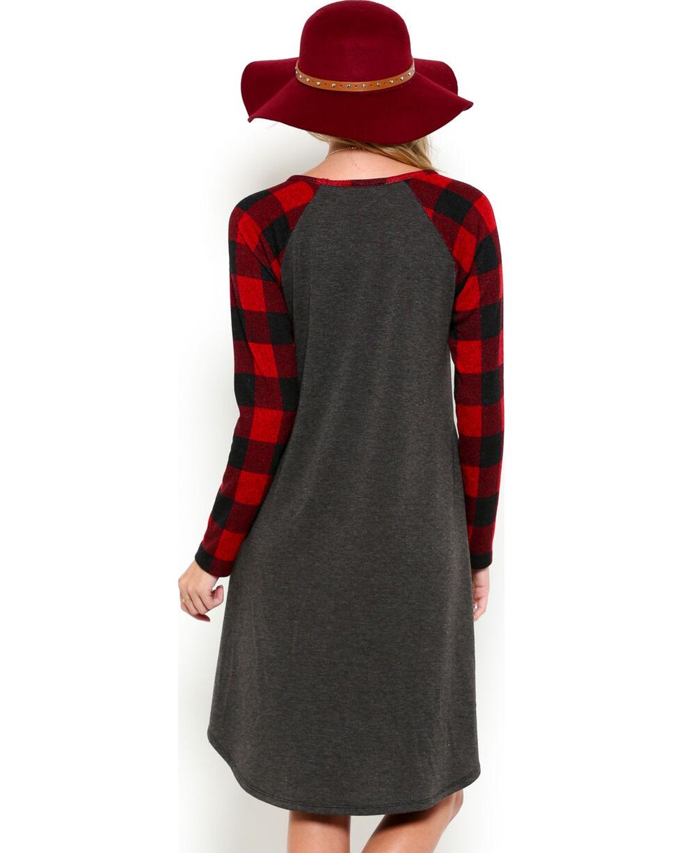 Ces Femme Women's Plaid Sleeve Dress, Red, hi-res