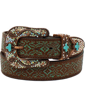 Nocona Women's  Embossed Rhinestone 3 Piece Bronze Buckle Set Belt, Brown, hi-res
