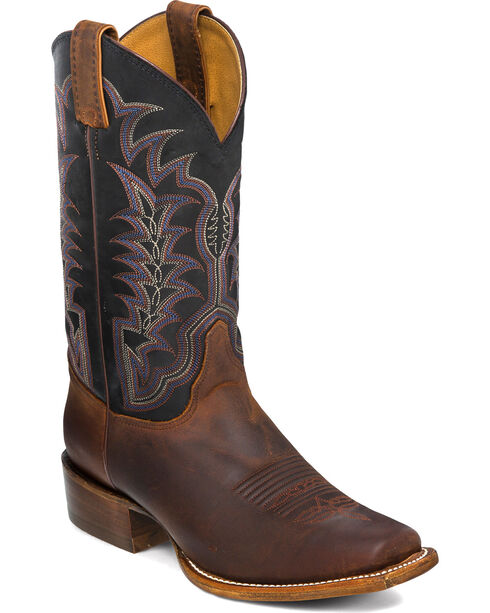 Justin Men's Black and Brown with Western Stitch Cowboy Boots - Square Toe, Brown, hi-res