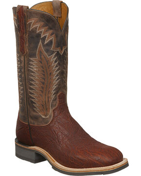 Lucchese Men's Wyatt Cognac/Chocolate Bull Shoulder Rubber Outsole Western Boots - Square Toe, Cognac, hi-res