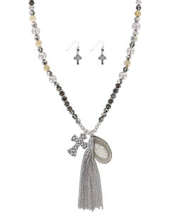 Shyanne Women's Feather and Fringe Jewelry Set , Silver, hi-res