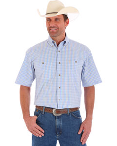 Wrangler Men's Blue Short Sleeve Plaid Shirt , Blue, hi-res