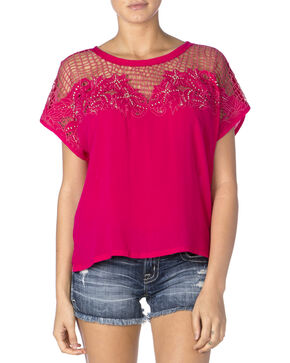 Miss Me Women's Hot Pink Mesh Cap Sleeve Top, Hot Pink, hi-res